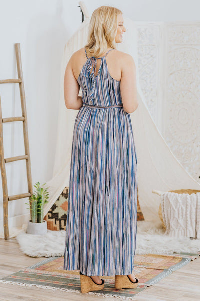 Dreaming of Spring Halter Tie Back Striped Maxi Dress in Blue - Filly Flair