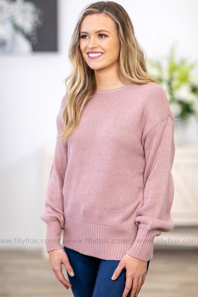 Is It A Love Song Long Sleeve Tied Open Back Sweater in Dusty Pink - Filly Flair