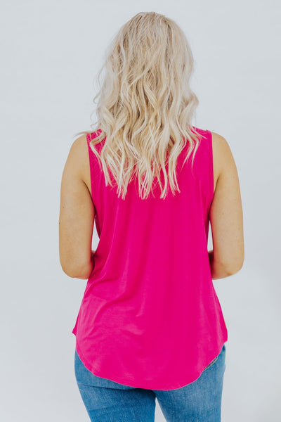 Come My Way Button Detail Tank Top in Fuchsia - Filly Flair