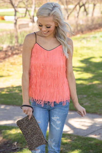 Sun Kissed Fringe Tank Top in Coral - Filly Flair