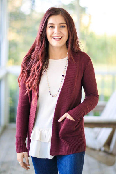 Still Be Loving You Open Front Cardigan Pockets Ribbed Trim in Maroon - Filly Flair