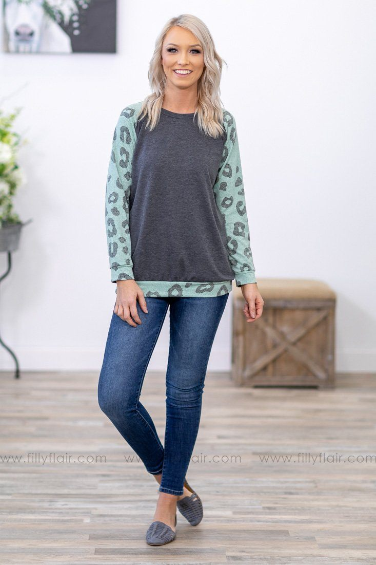 I'll Be Here Leopard Long Sleeve Charcoal Top in Mint - Filly Flair