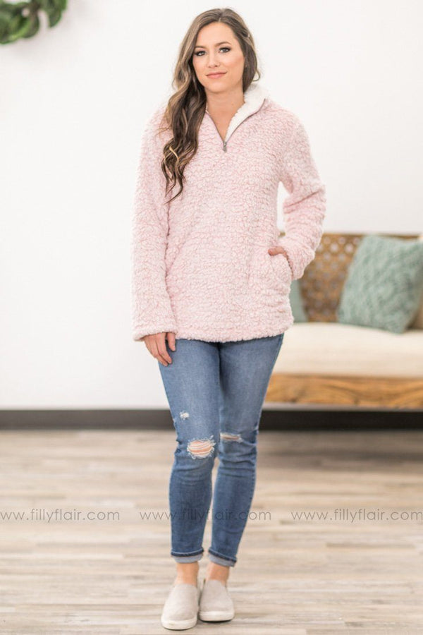 Keeping Cozy Quarter Zip Up Pull Over Sherpa in Pink - Filly Flair