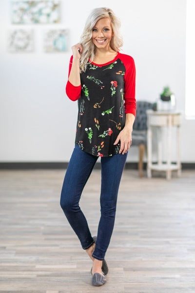 Among the Wildflowers 3/4 Red Sleeve Top in Black - Filly Flair