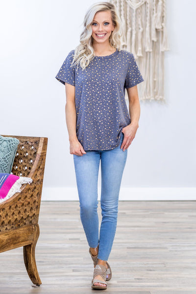 Star Struck Short Sleeve Metallic Gold Star Tee in Dusty Navy - Filly Flair