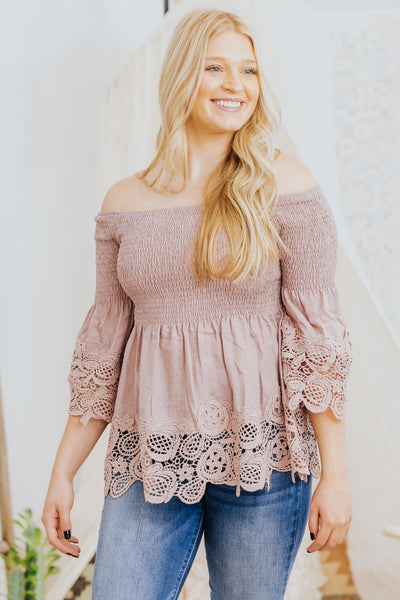 You Look Marvelous Off The Shoulder Smocked 3/4 Sleeve Top in Mauve - Filly Flair