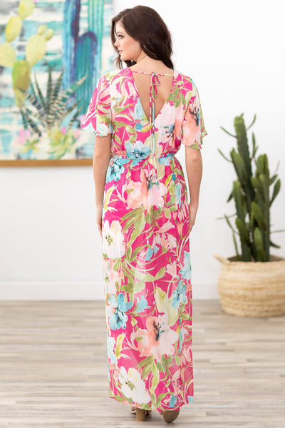 Find Me Near Short Sleeve Tropical Floral Romper Dress in Hot Pink - Filly Flair