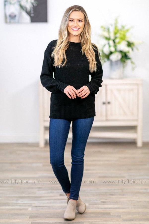 Is It A Love Song Long Sleeve Tied Open Back Sweater in Black - Filly Flair