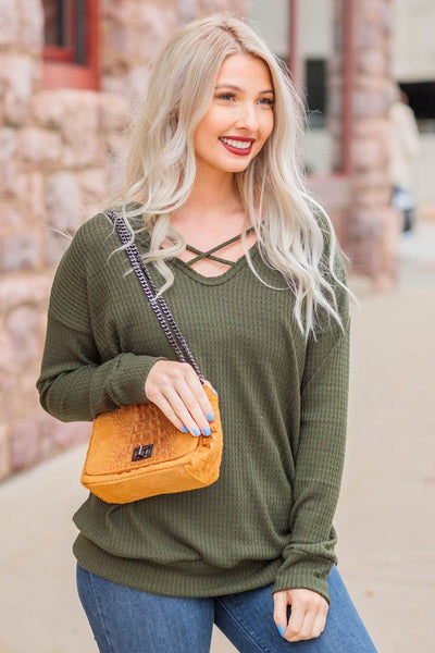 So Much Cuteness Waffle Long Sleeve Criss Cross Top in Olive - Filly Flair