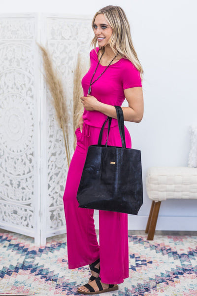Another Day Short Sleeve Jumpsuit in Magenta - Filly Flair
