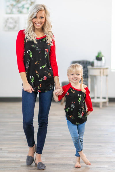 KIDS: Among the Wildflowers 3/4 Red Sleeve Top in Black - Filly Flair