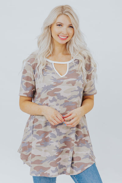 Living Life Camo Print V-Neck Short Sleeve Top in Brown - Filly Flair