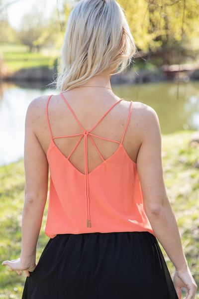 Tongue Tied Multi-Strap Tie Back Tank Top in Coral - Filly Flair