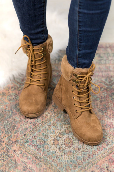 You Are Beautiful Fur Detail Lace Up Boots in Tan - Filly Flair