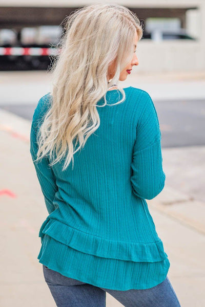 See How It Goes Ribbed Ruffle Long Sleeve Top in Teal - Filly Flair