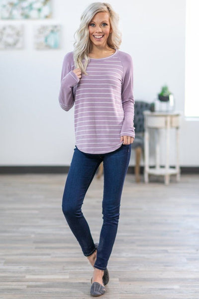 Lovely in Lilac Long Sleeve Striped Elbow Patch Top - Filly Flair