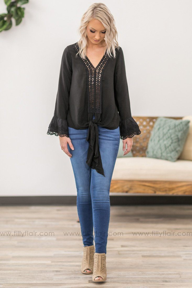 837dd93967fe Love Me Long Bell Sleeve Crochet Lace Detail Front Tie Top in Black - Filly  Flair