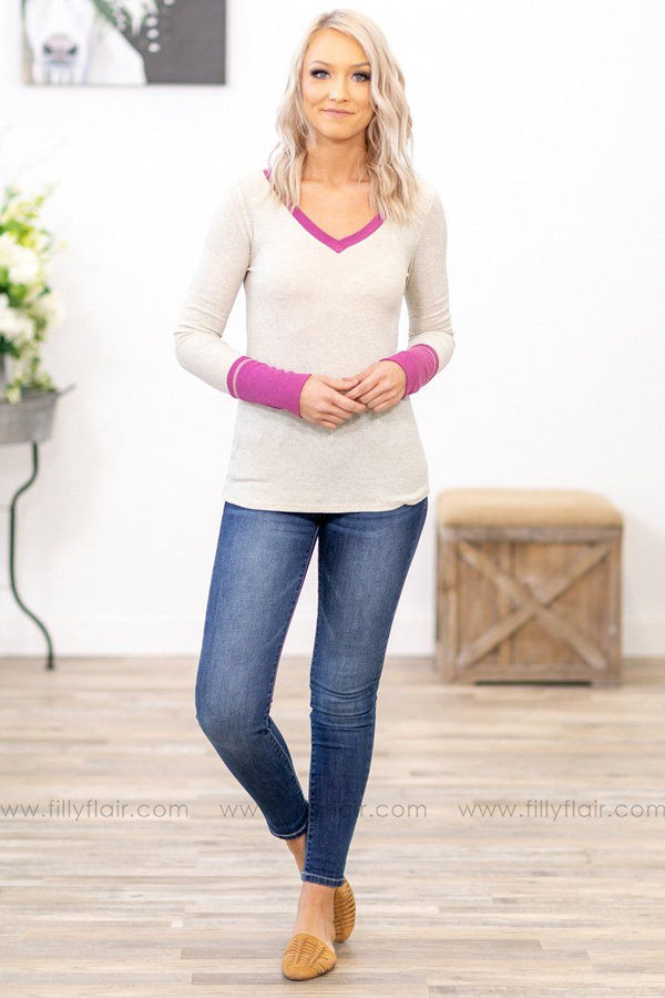 What I'm Looking For Long Sleeve V-Neck Waffle Top in Magenta Oatmeal - Filly Flair