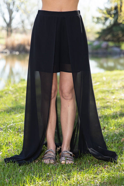 Come With Me Shorts Maxi Skirt in Black - Filly Flair