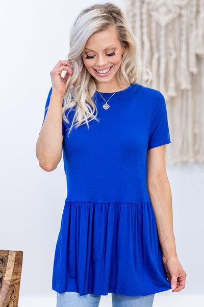 Walk Me Home Short Sleeve Babydoll Top in Royal Blue - Filly Flair
