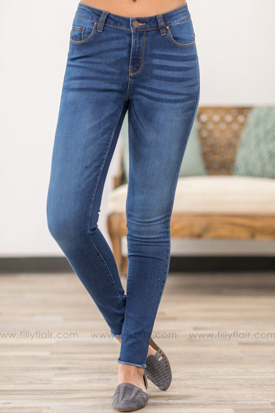 Bella Blue Age Medium Wash Skinny Jeans With Fringe Hem - Filly Flair