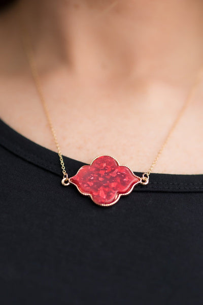Out On The Town Scarlet Tone Sparkle Detail Necklace - Filly Flair