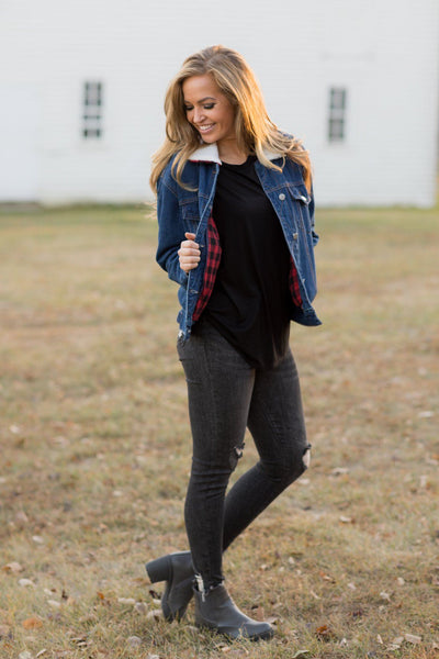 Country Nights Lined Buffalo Plaid Denim Jacket - Filly Flair