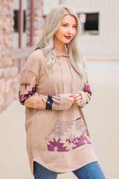 Me and My Southern Roots Aztec Print Long Sleeve Hooded Tunic Top in Mocha - Filly Flair