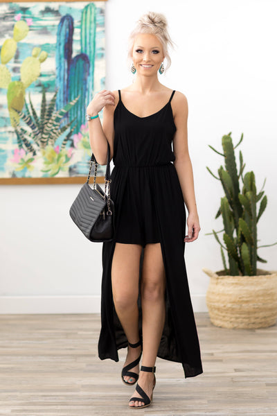 Bright Future Sleeveless Maxi Romper in Black - Filly Flair