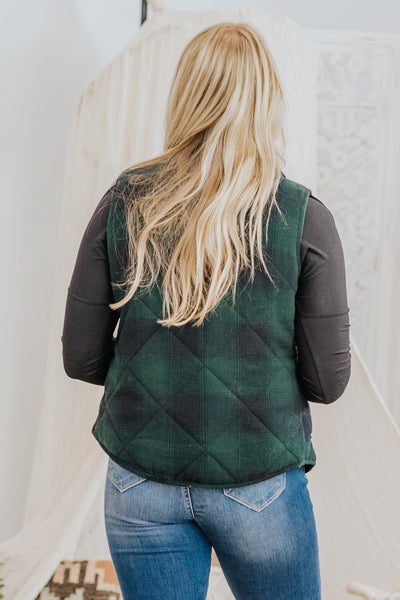 Make It Easy Plaid Flannel Vest in Hunter Green - Filly Flair