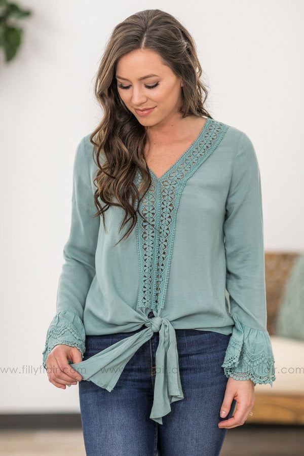 Love Me Long Bell Sleeve Crochet Lace Detail Front Tie Top in Sage - Filly Flair