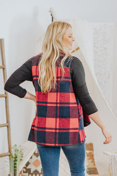 *DEAL* Love Comes Softy Plaid Vest in Red Navy - Filly Flair