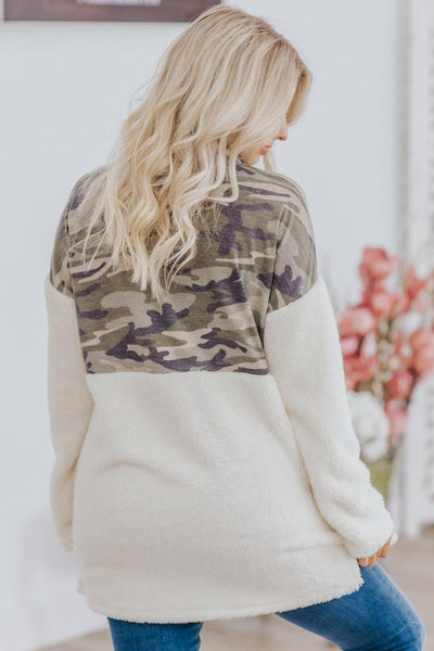 Clean Slate Camo Color Block 1/2 Zip Up Long Sleeve Sherpa in Ivory - Filly Flair