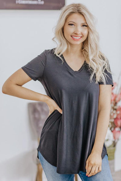 Comfy Is The Way Basic V Neck Short Sleeve Top in Black - Filly Flair