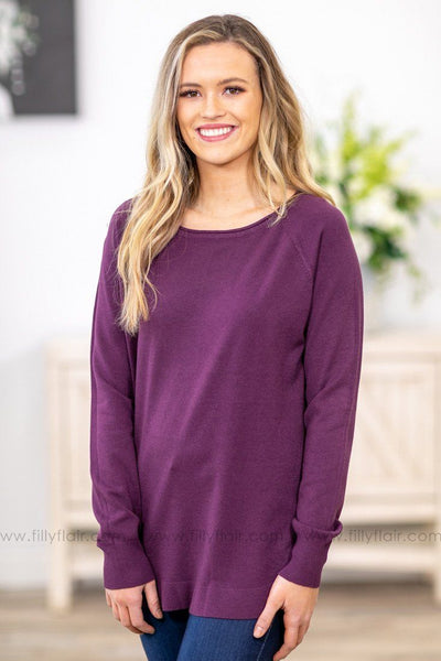 Fall For You Long Sleeve Sweater in Purple - Filly Flair