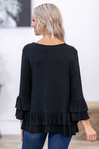 Ruffle You Up 3/4 Sleeve Ruffle Top in Black - Filly Flair