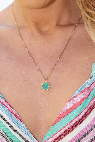 Filly Flair Turquoise Druzy Gold Chain Necklace - Filly Flair