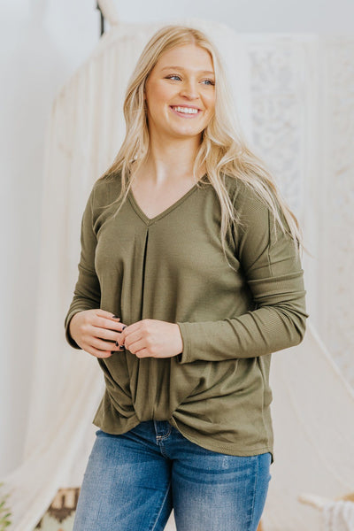 *DEAL* I Am Loved Waffle Front Twist Long Sleeve Dolman Top in Olive - Filly Flair