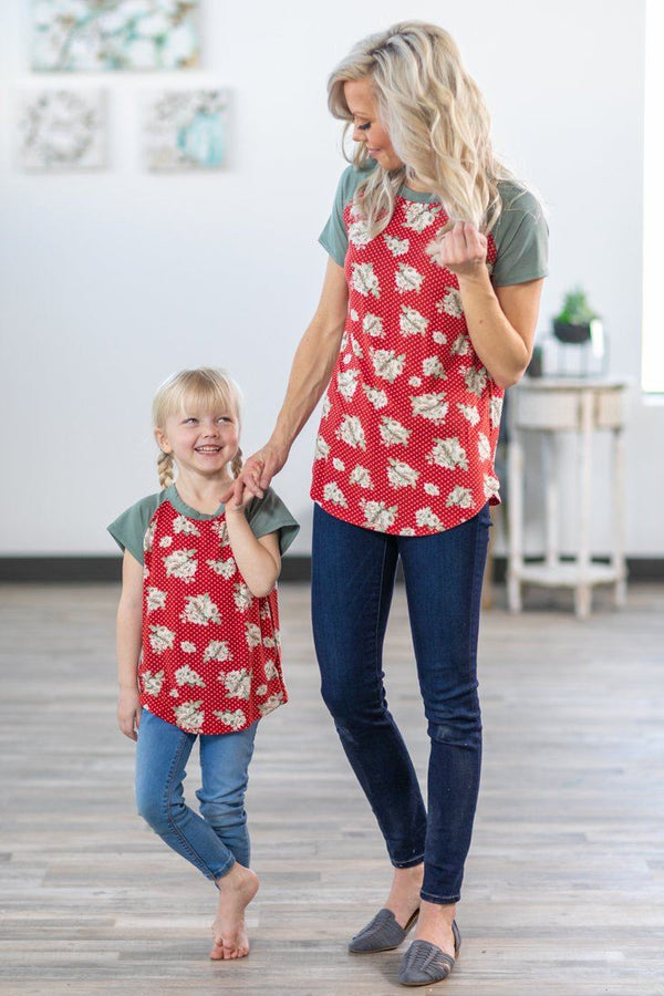 Only You and Me Sage Short Sleeve Floral Polka Dot Top in Red - Filly Flair