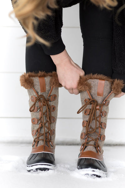 Feeling Alright Chevron Detail Fur Tall Boot in Tan - Filly Flair
