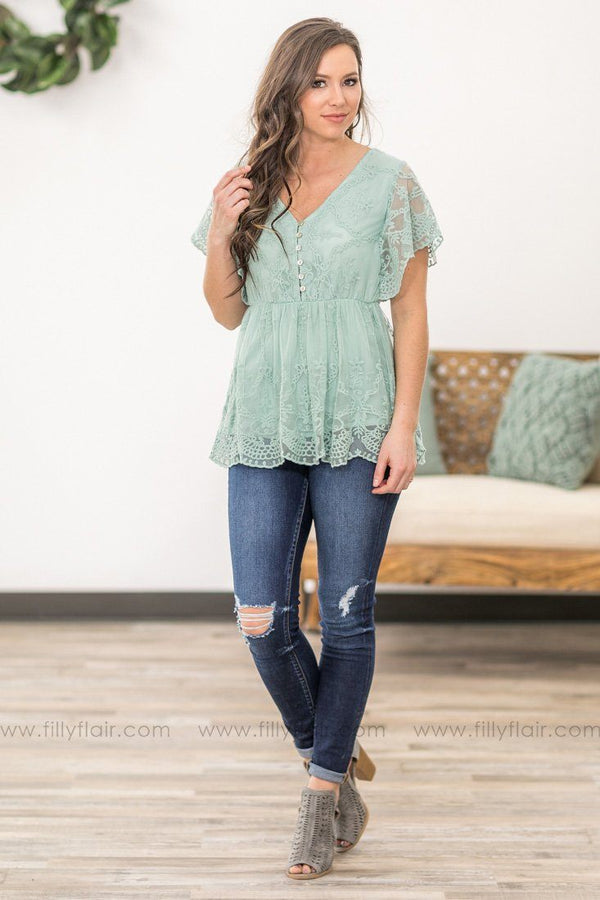 You Can't Tell Me Short Sleeve Lace Top in Sage - Filly Flair