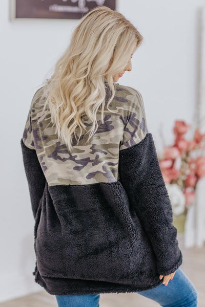 Clean Slate Camo Color Block 1/2 Zip Up Long Sleeve Sherpa in Black - Filly Flair