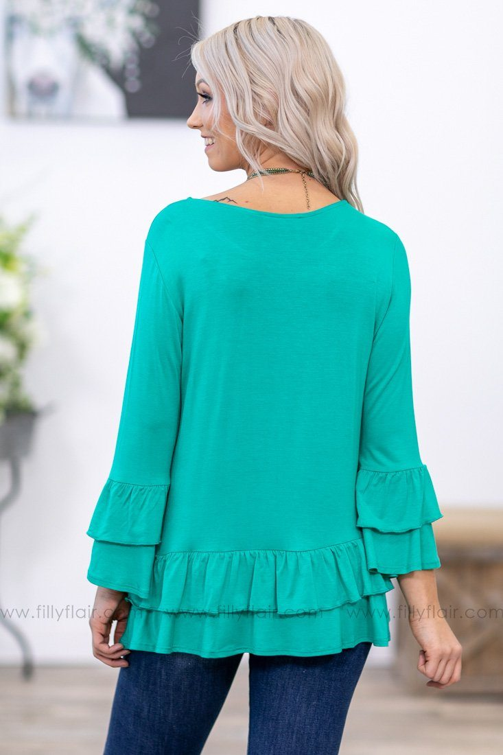 Ruffle You Up 3/4 Sleeve Ruffle Top in Jade - Filly Flair