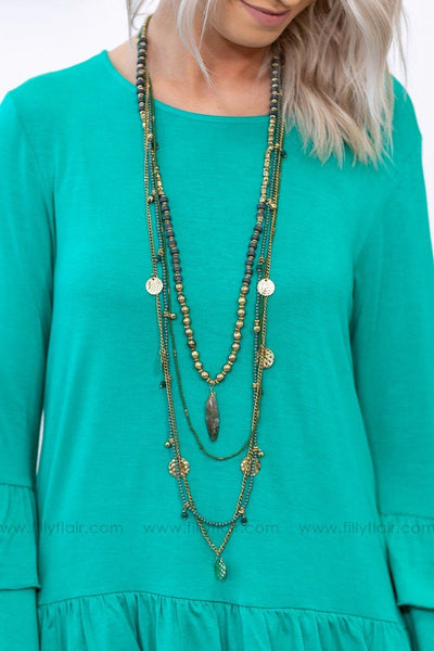 Nothing Holding Me Back Layered Necklace In Green Gold - Filly Flair