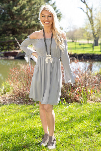 Heart Had A Heart Off The Shoulder Smocked Dress in Slate - Filly Flair