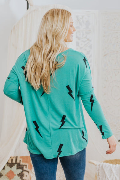 Lightning & Thunder Long Sleeve Print Top in Teal - Filly Flair