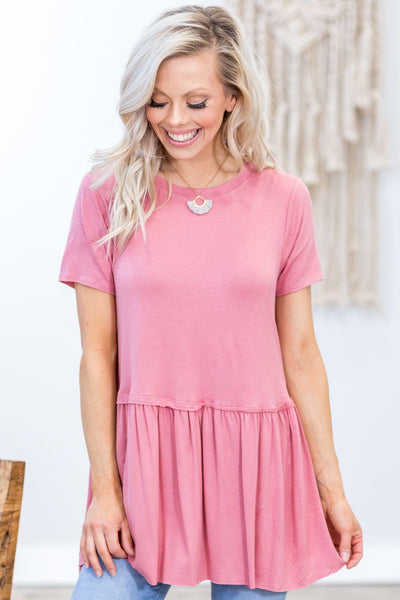 Walk Me Home Short Sleeve Babydoll Top in Dusty Rose - Filly Flair