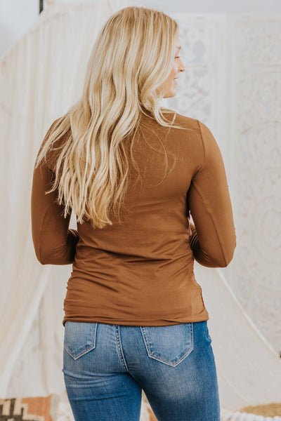 Classic Basic V Neck Long Sleeve Top in Brown - Filly Flair
