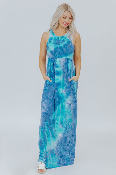 In The Air Maxi Dress In Blue Tie Dye - Filly Flair