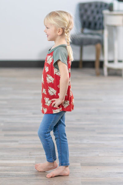 KIDS: Only You and Me Sage Short Sleeve Floral Polka Dot Top in Red - Filly Flair